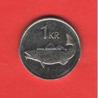 Исландия монета 1 крона 2006 года.