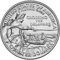 США 25 центов 2021 года Вашингтон, Переправа через реку Делавер