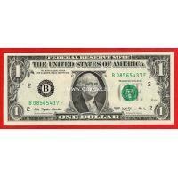 США банкнота 1 доллар 1977 (В-Нью-Йорк)