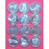 Набор 12 монет остров Строма 1 фунт 2016-2019 Домашние кошки.